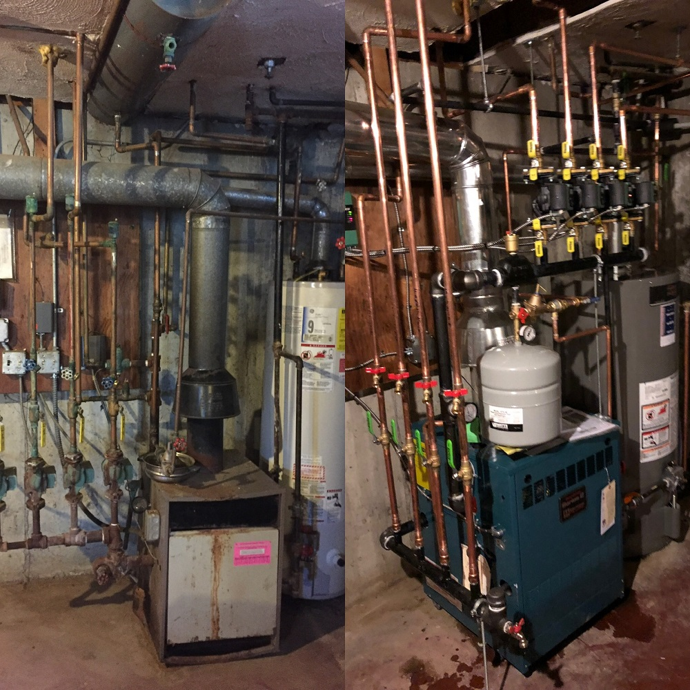 Before and After pictures for a new heat and hot water system