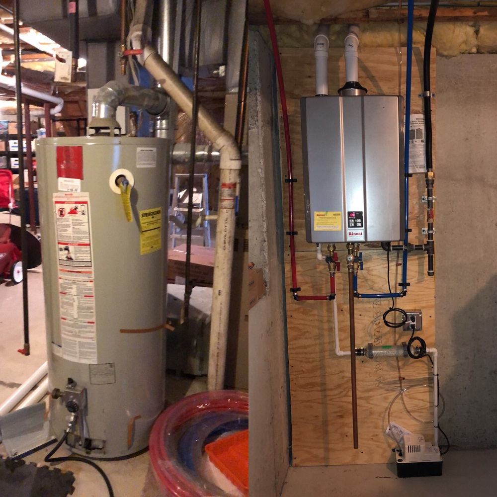 Before and After pictures of one of our favorite jobs to do! Installed a new Rinnai on demand tankless hot water heater to replace a 75 gallon tank. Why pay to heat 40,50, or 75+ gallons of water hot 24/7 when you can install a tankless that only turns on when hot water is needed.